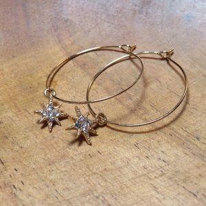 Hoop dangle earrings with star charm